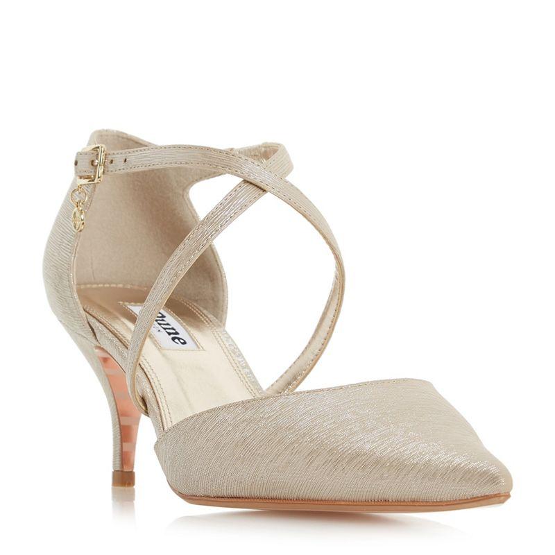 Dune Gold leather Courtnee kitten heel court shoes