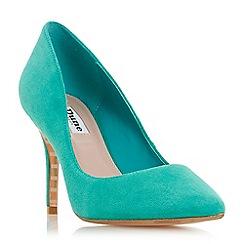 Dune - Green suede 'Aurrora' mid stiletto heel court shoes