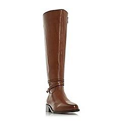 Dune - Brown leather 'Taro' block heel riding boots