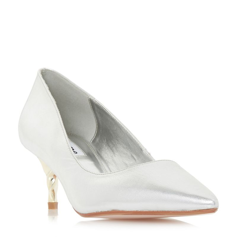 Dune - Silver Leather Aspire Court Shoes