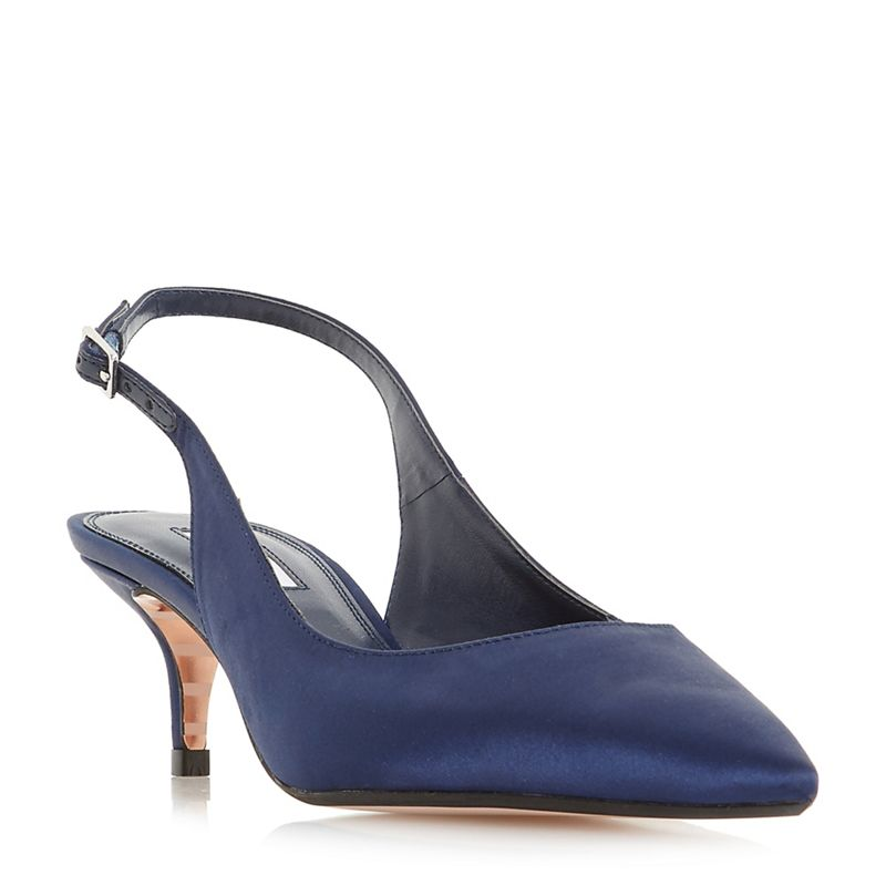 Dune Navy Crystal mid kitten heel court shoes