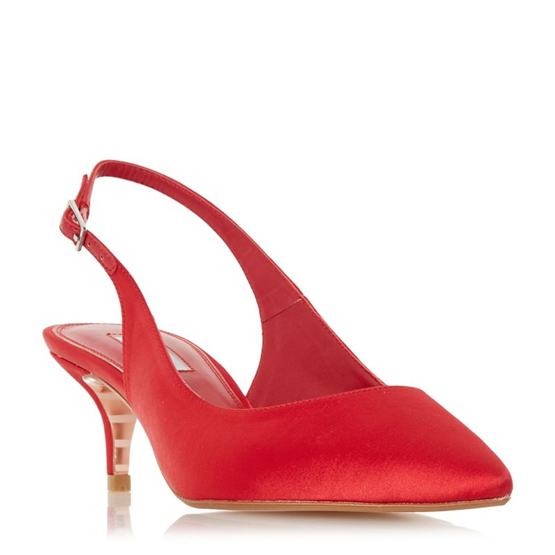 Dune Red Crystal mid kitten heel court shoes