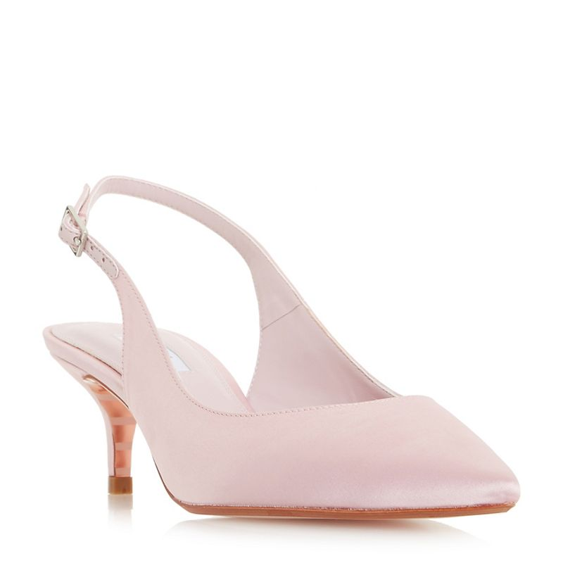 Dune Pale_pink Crystal mid kitten heel court shoes