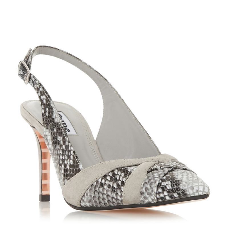 Dune - Grey Leather Cheska Mid Stiletto Heel Court Shoes