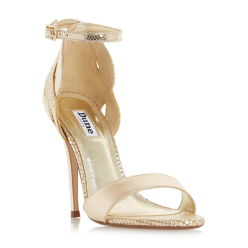 eb7234a2eecc Dune - Gold Leather  Margaux  High Stiletto Heel Ankle Strap Sandals ...
