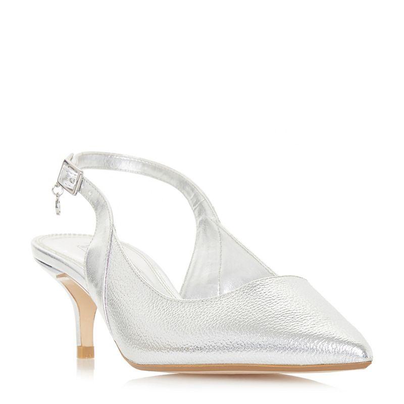 Dune - Silver Cinda Kitten Heel Slingbacks