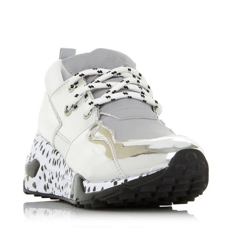 671530458d5 Womens Steve Madden Silver 'Cliff' platform lace up trainers ...