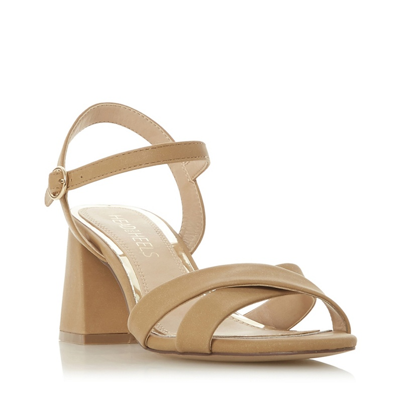 317ea6ecb6e Head Over Heels by Dune - Natural  Moni  Mid Block Heel Ankle Strap Sandals