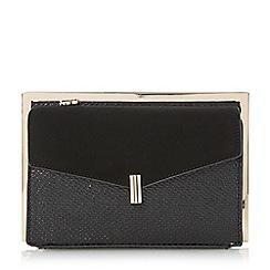 Dune - Black 'Beveline' double pocket frame clutch bag