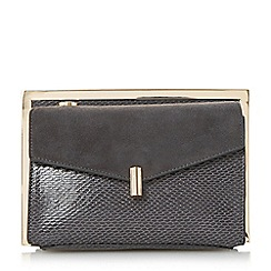 Dune - Grey 'Beveline' double pocket frame clutch bag