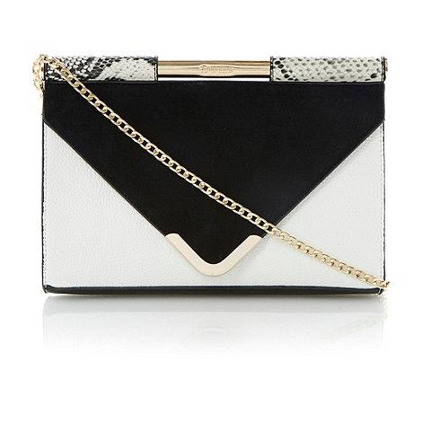 Dune - Black white bar top envelope style clutch bag