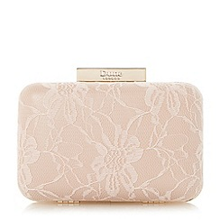 Dune - Neutral lace box clutch bag