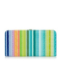 Dune - Multi patent candy striped slim frame clutch bag