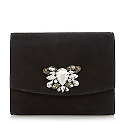 Dune - Black jewelled brooch trim clutch bag