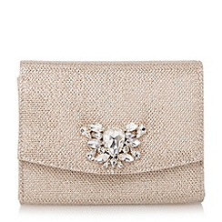 Dune - Metallic jewelled brooch trim clutch bag
