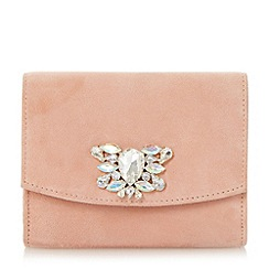 Dune - Neutral jewelled brooch trim clutch bag