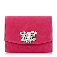 Dune - Pink jewelled brooch trim clutch bag