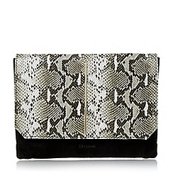 Dune - Black metallic detail foldover clutch bag