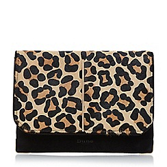 Dune - Leopard metallic detail foldover clutch bag