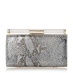 Dune - Metallic and perspex clasp detail clutch bag