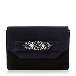 Dune - Blue suede jewel trim clutch bag