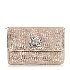 Dune - Gold 'Bree' jewelled brooch suede clutch bag