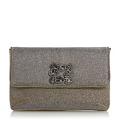 Dune - Bronze 'Bree' jewelled brooch suede clutch bag