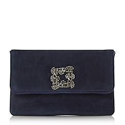 Dune - Navy 'Bree' jewelled brooch suede clutch bag