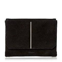 Dune - Black 'Bentley' centre bar detail clutch bag