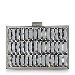 Dune - Black 'Bowden' gem embellished metal frame clutch bag