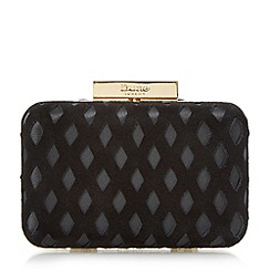 Dune - Black 'Bestie' diamond cut out detail clutch bag