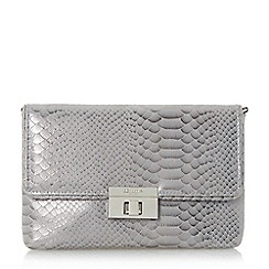 Dune - Silver 'Balbinas' metallic airbrushed reptile effect clutch bag