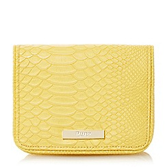 Dune - Yellow 'Becky' small flapover clutch bag