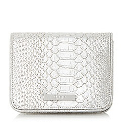 Dune - Silver 'Becky' small flapover clutch bag