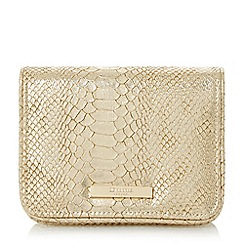 Dune - Gold 'Becky' small flapover clutch bag