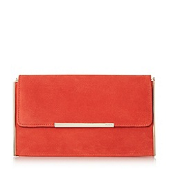 Dune - Orange 'Blanka' hardware detail suede clutch bag