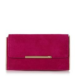 Dune - Bright Pink 'Blanka' hardware detail suede clutch bag