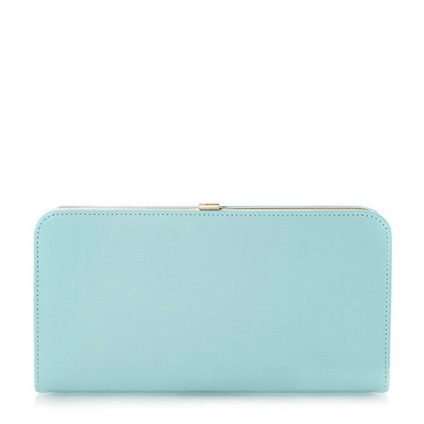 Dune - Green leather and reptile print clutch bag