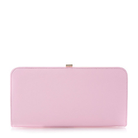 Dune - Pink leather and reptile print clutch bag