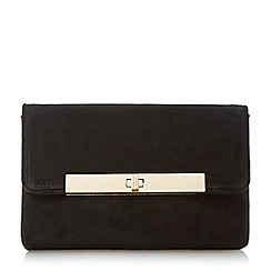Dune - Black 'Bliss' flapover turn lock clutch bag