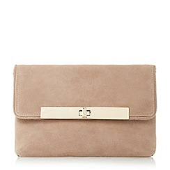 Dune - Taupe 'Bliss' flapover turn lock clutch bag