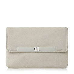 Dune - Grey 'Bliss' flap over turn lock clutch bag