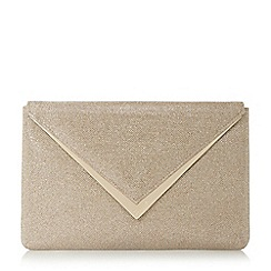 Dune - Gold 'Behan' v-trim envelope clutch bag