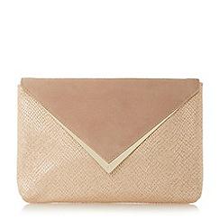 Dune - Natural 'Behan' v-trim envelope clutch bag