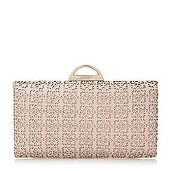 Dune - Light pink 'Beeny' laser cut frame detail  clutch bag