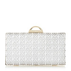 Dune - White 'Beeny' laser cut frame detail  clutch bag