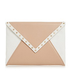 Dune - White 'Barcel' studded envelope clutch bag