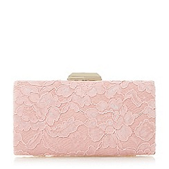 Dune - Natural 'Bowman' lace hardcase clutch bag
