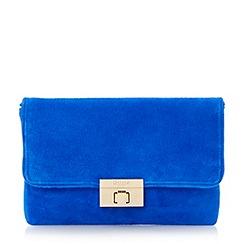 Dune - Blue suede foldover clutch bag