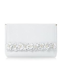 Dune - White 'Bouquet' flower embellished trim clutch bag